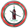Coca Cola Ice Cold Bottle Neon Clock - 14 inch Diameter