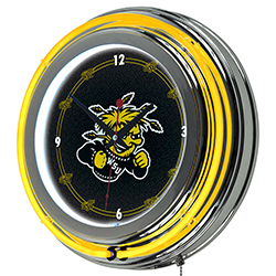 Wichita State University Neon Clock - 14 inch Diameter