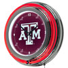 Texas A&M University Chrome Double Rung Neon Clock