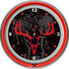 Hunt Skull Chrome Double Ring Neon Clock
