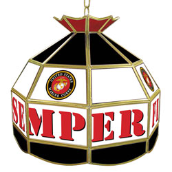 United States Marine Corps 16 Inch Stained Glass Lamp