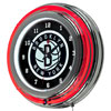 Brooklyn Nets NBA Chrome Double Ring Neon Clock
