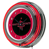 Houston Rockets NBA Chrome Double Ring Neon Clock