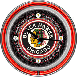Vintage Chicago Blackhawks® Neon Clock - 14 inch Diameter