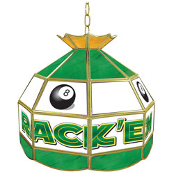 Rack'em 8-Ball Stained Glass Billiard Lamp - 16 Inch