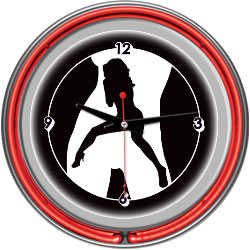 Shadow Babes - C Series - Clock w/ Two Neon Rings - Red