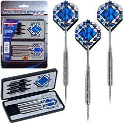 28 Gram Tungsten Alloy Dart Set ? Professional Competition Accessory with Aluminum and Polycarbonate Shafts, Flights and Carry Case by Trademark Games