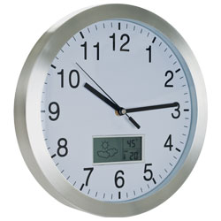 Weather Station Wall Clock - 12 inch Aluminum Image