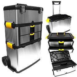 Stainless Steel 3-Part Wheeled Mobile Workshop ? Extendable Handle Portable Upright Chest & Cabinet Storage Box, Garage Organizer Work by Stalwart