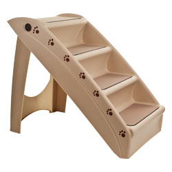 Folding Plastic Pet Stairs Durable Indoor or Outdoor 4 Step Design With Built-in Safety Features For Dogs Cats Home Travel by PETMAKER ? TAN