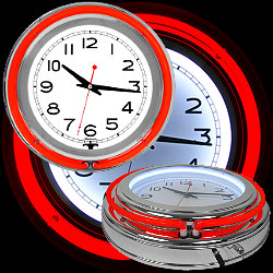 14 Inch Double Ring Neon Clock Red Outer & White Inner Ring