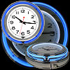 Retro Neon Wall Clock - Battery Operated Wall Clock Vintage Bar Garage Kitchen Game Room ? 14 Inch Round Analog by Lavish Home (Blue and White)
