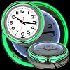 Retro Neon Wall Clock - Battery Operated Wall Clock Vintage Bar Garage Kitchen Game Room ? 14 Inch Round Analog by Lavish Home (Green and White)