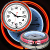 Retro Neon Wall Clock - Battery Operated Wall Clock Vintage Bar Garage Kitchen Game Room ? 14 Inch Round Analog by Lavish Home (Orange and White