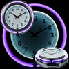 14 Inch Double Ring Neon Clock Purple Outer White Inner