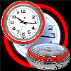 Retro Neon Wall Clock - Battery Operated Wall Clock Vintage Bar Garage Kitchen Game Room ? 14 Inch Round Analog by Lavish Home (Red and White)