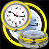 Retro Neon Wall Clock - Battery Operated Wall Clock Vintage Bar Garage Kitchen Game Room ? 14 Inch Round Analog by Lavish Home (Yellow and White)