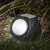 Outdoor LED Solar Rock Lights ? Realistic All-Weather Faux Stone Spotlight Fixture for Gardens, Pathways, and Patios by Pure Garden (Set of 8)