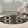 Lavish Home Opus Art Deco Area Rug - Dark Teal - 5' Round