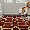 Lavish Home Opus Art Deco Area Rug - Burgundy - 5'3