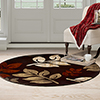 Lavish Home Opus Falling Leaves Area Rug - Burgundy -5' Round