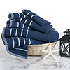 Combed Cotton Towel Set- Rice Weave 100% Combed Cotton 6 Piece Set With 2 Bath Towels, 2 Hand Towels and 2 Washcloths by Castle Point- Navy