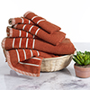 Combed Cotton Towel Set- Rice Weave 100% Combed Cotton 6 Piece Set With 2 Bath Towels, 2 Hand Towels and 2 Washcloths by Castle Point- Brick Orange
