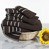 Combed Cotton Towel Set- Rice Weave 100% Combed Cotton 6 Piece Set With 2 Bath Towels, 2 Hand Towels and 2 Washcloths by Castle Point- Chocolate Brown