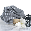 Combed Cotton Towel Set- Rice Weave 100% Combed Cotton 6 Piece Set With 2 Bath Towels, 2 Hand Towels and 2 Washcloths by Castle Point- Silver Gray