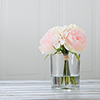 Rose & Hydrangea Floral Arrangement- 6 Pink & Cream Artificial Flowers in Decorative Clear Glass Round Vase with Faux Water for D�cor by Pure Garden