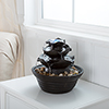 Indoor Water Fountain With LED Lights- Lighted Three Tier Soothing Cascading Tabletop Fountain With Rocks for Office and Home D�cor By Pure Garden