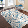Lavish Home Vintage Leaves Rug - Ivory Blue - 5' x 7'7