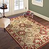 Lavish Home Vintage Round Patchwork Rug - Red - 5' x 7'7