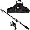 Fishing Rod and Reel Combo, Spinning Reel, Carbon Fiber and Steel Telescopic Pole, Fishing Gear for Lake Fishing, Black - Ultra Series by Wakeman