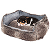 PETMAKER Faux Fur Gray Wolf Dog Bed - 23 x 19 Inch