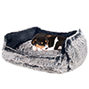 PETMAKER Faux Fur Black Mink Dog Bed - 27 x 22 Inches