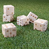 Giant Wooden Yard Dice Outdoor Lawn Game, 6 Playing Dice with Carrying Case for Kids and Adults by Hey! Play!