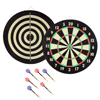 Dart Board Set- Hanging Target Game and 6 Brass Tip Darts, Tournament Sized Indoor Dartboard with Mounting Hardware for Kids or Adults by Hey! Play!