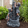 Outdoor Water Fountain With Boy and Girl, Antique Bronze Design and Soothing Sound for Decor on Patio, Lawn and Garden By Pure Garden