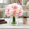 Hydrangea and Rose Artificial Floral Arrangement with Vase and Faux Water- Fake Flowers for Home D�cor, Shower Centerpiece by Pure Garden (White/Pink)