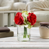 Hydrangea and Rose Artificial Floral Arrangement with Vase and Faux Water- Fake Flowers for Home D�cor, Shower Centerpiece by Pure Garden (Red)