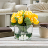 Tulip Artificial Floral Arrangement with Vase and Faux Water- Fake Flowers for Home D�cor, Weddings, Shower Centerpiece by Pure Garden (Yellow)