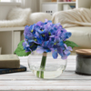 Hydrangea Artificial Floral Arrangement with Vase and Faux Water- Fake Flowers for Home D�cor, Shower Centerpiece by Pure Garden (Purple)