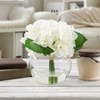 Hydrangea Artificial Floral Arrangement with Vase and Faux Water- Fake Flowers for Home D�cor, Weddings, Shower Centerpiece by Pure Garden (White)