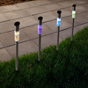Solar Outdoor LED Light, Battery Operated Stainless Steel Mosaic Column Path and Walkway Lights For Landscape, Patio, Pathways by Pure Garden