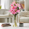 Tall Lily Artificial Floral Arrangement with Vase and Faux Water- Fake Flowers for Home D�cor, Weddings, Shower Centerpiece by Pure Garden (Pink)