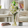 Tall Lily Artificial Floral Arrangement with Vase and Faux Water- Fake Flowers for Home D�cor, Weddings, Shower Centerpiece by Pure Garden (White)