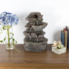 Tabletop Water Fountain with Cascading Rock Waterfall and LED Lights - Tiered Stone Table Fountain By Pure Garden (Office Patio and Home D�cor)
