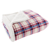 Sherpa Fleece Throw Blanket with Red and Blue Plaid Pattern- Lightweight Hypoallergenic Bed or Couch Soft Plush Blanket (60