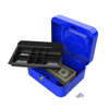 Stalwart 8 Inch Key Lock Blue Cash Box with Coin Tray
